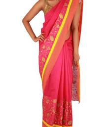 Buy Rani pink chanderi saree with floral embroidery and orange silk border chanderi-saree online