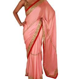 Buy Coral pink satin saree with sequin and stone work satin-saree online
