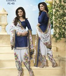 Buy Blue printed poly cotton salwar with dupatta dress-material online