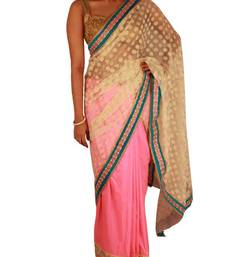 Buy Silk and net half and half saree in pink white with stone and pearl work border silk-saree online