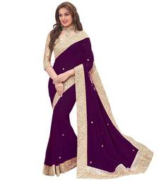 Buy Violet hand woven georgette saree with blouse georgette-saree online