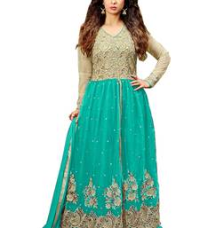 Buy Green net embroidered semi stitiched salwar with dupatta semi-stitched-salwar-suit online