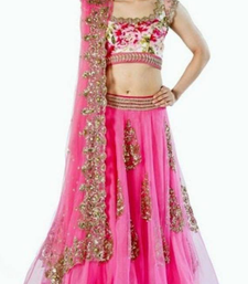 Buy Pink Net Brasso embroidered Semi stitched lehenga choli lehenga-choli online