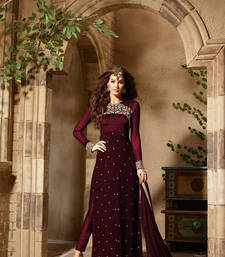 Buy Maroon embroidered georgette salwar semi-stitched-salwar-suit online