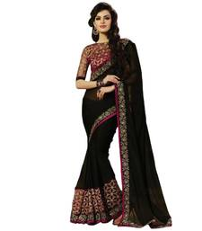 Buy Black embroidered georgette saree with blouse Saree online