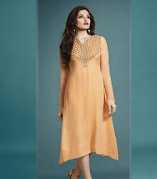 Buy Light orange embroidered georgette georgette-kurtis georgette-kurti online