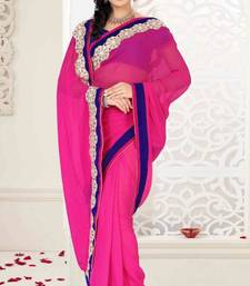 Buy Magenta Color Faux Georgette Designer Saree With Blouse georgette-saree online