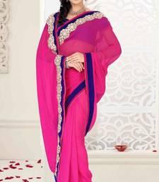 Buy Magenta Color Faux Georgette Designer Saree With Blouse georgette-saree online