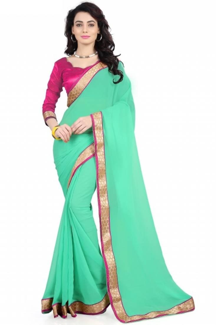 Buy blue plain georgette saree with blouse Online