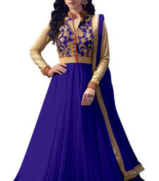 Buy Blue net semi stitiched salwar with dupatta semi-stitched-salwar-suit online