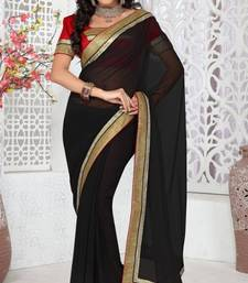 Buy Nice Black Color Faux Georgette Saree With Blouse georgette-saree online