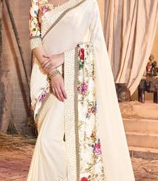 Buy light beige embroidered crepe saree with blouse crepe-saree online