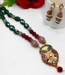 Buy Meenakari Leafy Drop Necklace Green Maroon Necklace online