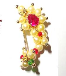 Nath SMALL Clip on (press) type Maharashtrian traditional Nose ring of Pearl beads shop online