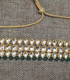 Buy Kundan and Green Onyx Gemstone Choker Necklace Necklace online