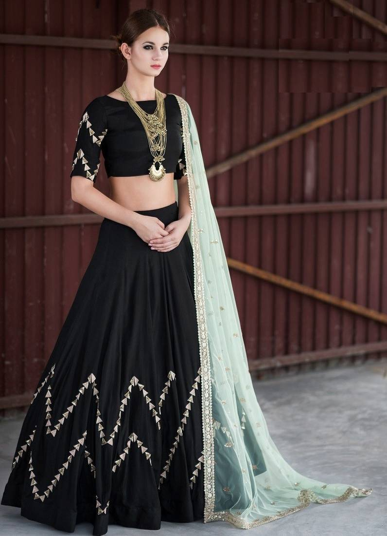 Buy Black Embroidered Banglori Silk Lehenga Choli Online