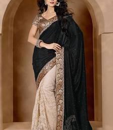 Buy Black color embroidered designer saree velvet-saree online