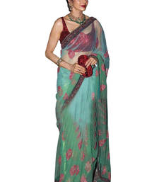 Buy Cyan embroidered net saree with blouse net-saree online