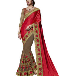 Buy red and brown embroidered satin saree with blouse satin-saree online