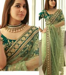 Buy Light green embroidered net saree with blouse bollywood-saree online
