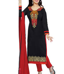 Buy black embroidered cotton poly salwar with dupatta salwars-and-churidar online