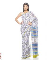 Buy Royal Blue and White Paisley Print Pure Cotton Saree cotton-saree online