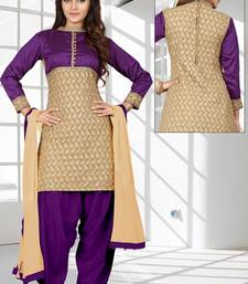Buy Purple self design faux georgette unstitched salwar with dupatta punjabi-suit online