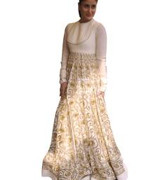 Buy White embroidered silk semi stitched salwar bollywood-salwar-kameez-online online