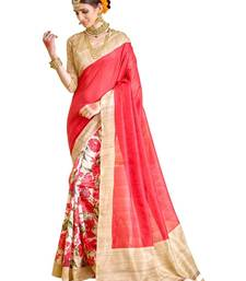 Buy pink printed silk saree with blouse art-silk-saree online