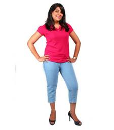 Buy hmv Slim Fit Capri for Women in Blue size-30inch other-apparel online