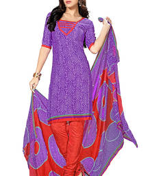 Buy purple embroidered faux crepe salwar with dupatta salwars-and-churidar online