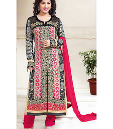 Buy Multicolor embroidered georgette unstitched salwar with dupatta dress-material online