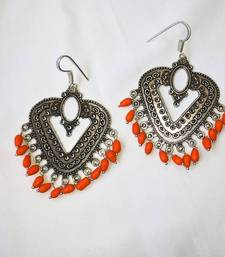 Buy  Silver Dangler Earrings with Orange Beads danglers-drop online