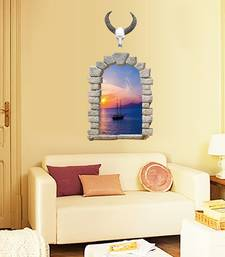 Buy Sacred Cow Sea Evening Scenery 3D fake window' Wall Sticker (60 cm X 90 cm) wall-decal online