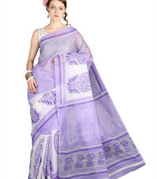 Buy Pavecha's Mangalgiri Cotton Blend Printed Saree - Fiza Lavender MK895 cotton-saree online