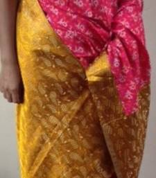 Buy Pink and gold Printed cotton saree  cotton-saree online