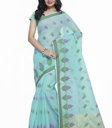 Buy Turquoise Cotton Handloom Traditional Saree kota-silk-saree online
