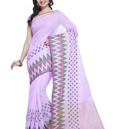 Purple Cotton Handloom Traditional Saree shop online