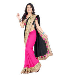 Buy Pink Saree embroidered georgette saree with blouse party-wear-saree online