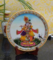 Buy eCraftIndia Divine Beauty of Radha-Krishna on Marble Plate with Wooden Stand sculpture online