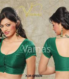 Buy Fabric for blouse in Silk - Green x 35. A Muhenera Collection blouse-fabric online