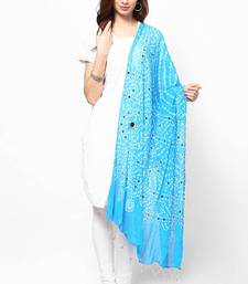 Buy Stunning Blue Cotton Bandhej Dupatta with hand work stole-and-dupatta online
