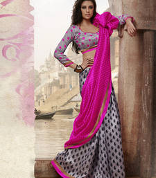 Buy Strollay Saree with unstichted Blouse bhagalpuri-silk-saree online