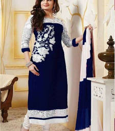 Buy Navy blue embroidered faux georgette unstitched salwar with dupatta semi-stitched-salwar-suit online