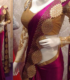 Buy Marun embroidered art silk sarees saree with blouse art-silk-saree online