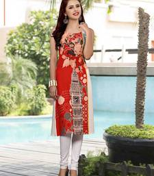 Buy Red printed cotton party wear kurtis eid-kurti online