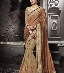 Buy Brown embroidered silk saree with blouse heavy-work-saree online