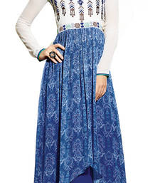 Buy Blue printed georgette ethnic-kurtis ethnic-kurti online