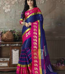 Buy Blue printed cotton silk saree with blouse wedding-saree online