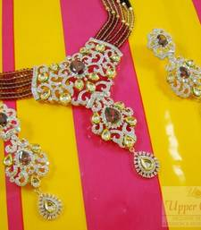 Multi Kundan CZ Bridal Necklace Earring Set shop online